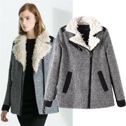 Wholesale New Autumn Winter Oblique Zipper Wool Jacket Women European Famous Brand Fall Casual Woolen Coats Manteau Female