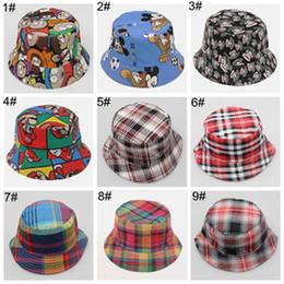 Wholesale kids bucket hat cap baby summer hats boy girls sun hats canvas beach hat high quality children caps cartoon plaid hats sun bonnet