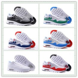 Discount shoes run air max Hot Sale Wolf Grey Air Sportswear Max 1 Ultra Knit Shoes Triple Black 87 Running Shoes Men Women Sports Sneakers With Box Size US5.5--12