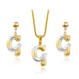 mexican style 2 piece copper jewelry set pendant stud earrings letter g multicolor jewelry for women xuping hot sell party jewlery