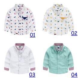 Wholesale 2016 Sweet Kids Boys Girls Birds Print Cotton Shirts Blue and Pink Color Design Long Sleeve Blouse Casual Tees style free dhl ship