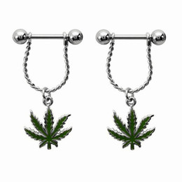 online shopping 3pairs Fresh Summer Style Green Leaf Nipple Piercing Sexy Bar Rings Jewelry Creative Punk Body Jewellery Women Men Gift