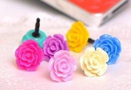 20000PCS Auricular universal flor de Rose 3,5 mm del casquillo del oído del enchufe del polvo del muelle para el iPhone 5 4 4S iPod Samsung HTC LG IPAD # 160526