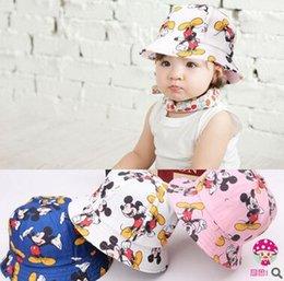 Wholesale 3 Design Minnie Mickey Mouse Kids Cartoon Visor Caps Donald Duck child bucket Hats