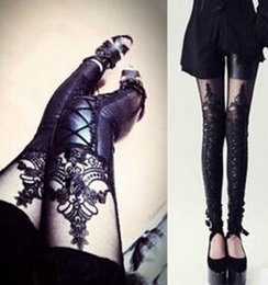 Wholesale 2016 New Punk Leather Leggings Women Black Lace Embroidery Lace Leggings Sexy Up Skinny Legging One Size