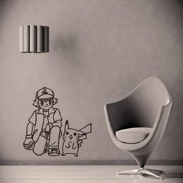 Poke Wall Sticker Ash Ketchum And Pikachu Cartoon Sickers Black White Sketch Stickers 56 57cm For Kids Room Decor
