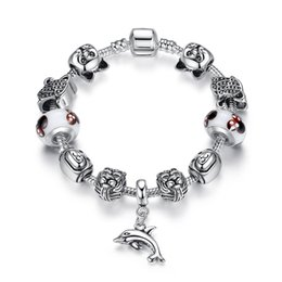European Pandora Style Charm Bracelets with Lion Silver Charms \u0026amp; Dolphin Dangles Fashion DIY Bangle Bracelets for Women BL145