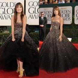 Wholesale Sparkle Strapless Black Tulle Beaded Evening Prom Gowns Floor Length Celebrity Dresses Kim Kardashian Red Carpet Dress