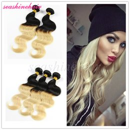 2017 ombre human hair wave Ombre Brazilian Virgin Hair Body Wave Human Hair Extensions 3pcs lot two tone 1B#613# Blonde Hair Weave affordable ombre human hair wave