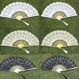 Wholesale Vintage Lace Hand fans Fancy Bridal Wedding fans Wedding favors White black Bamboo Bridesmaid Fans Parasols Party Dance Drop shipping