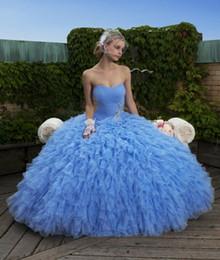 Wholesale 2016 vestidos de azul barato del Organza del amor de los granos de quinceañera Ruch falda con gradas vestidos de bola ata para arriba los vestidos de debutantes