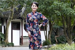 Wholesale 2016 New Chinese Long Dress Qipao For Women Traditional Clothing Cotton and Linen Long Sleeve Robe Clothes Evening Dresses