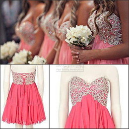 Wholesale Pink Coral Bridesmaid Dresses Sweetheart Short A Line Handmade Beads Homecoming Dresses Lovely Party Gowns Chiffon Corset Prom Dress