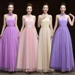 Long Fund Nuevo Patrón Halter noche de dama de honor Full Sisters Dress Actividad Show Serve Vestidos de baile