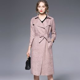 Wholesale Europe autumn and winter new windbreaker waist tie suede large lapel Slim solid color coat hot Wool Blends Trench Coats