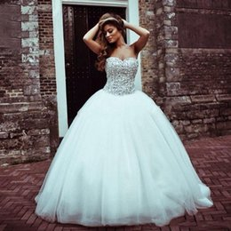 Wholesale Sparkly Quinceanera Vestidos Corsé Sweetheart Sequins Beaded Ruched Tulle vestido de bola Sweet Debutante Girls Masquerade Ball Gowns