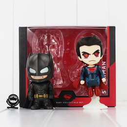 online shopping 2 set Super Hero Batman Superman Q Version PVC Action Figure Toy Collectable modle toy for kids gift
