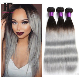 2017 ombre two tone color virgin hair New Arrival Peruvian Straight 3 pcs lot Ombre Silver grey Hair Weaving 1b gray Two Tone Peruvian Virgin Human Hair Extensions cheap ombre two tone color virgin hair