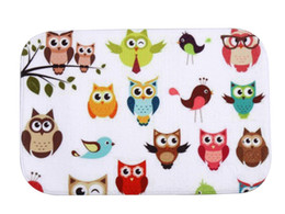 Discount Owl Rugs 40*60cm Owl Bath Mats Anti Slip Rugs Coral Fleece Carpet