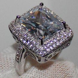 handmade size 6 10 womens silver huge radiant white sapphire simulated diamond stone cz pave set wedding ring - Huge Wedding Ring