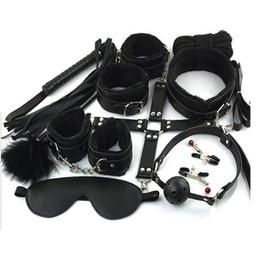 10 pièces BDSM Bondage Restraints Set Kit Menottes Bride de serrage Bride Gag Bracelets Whip collier Fétiche Sexe érotique Jouet Couples