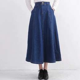 Discount Vintage Long Denim Skirts | 2017 Vintage Long Denim ...