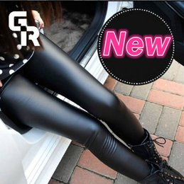 Wholesale Fashion Sexy Faux Leather Legging Fabric Stretchy Mid Waist Ladies Imitation Leather Look Leggings Women Trousers Pants Colors Must Have