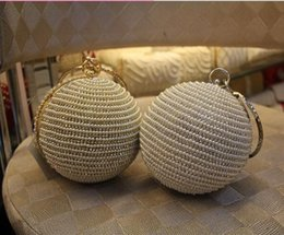 online shopping Women s Pearl Boll Evening Bag Round Ball Pearl Beaded Clutch Purse Mini Handbags Full Pearl Wedding Party Bags