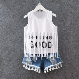 Wholesale Children Set Kids Suit Outfits Summer Girl Fringed T Shirts Denim Short Kid Denim Clothes Kids Clothing