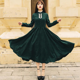 Vintage Euro Style women green dress fall winter long sleeve women elegant dress Lady lace Turtle neck party dress