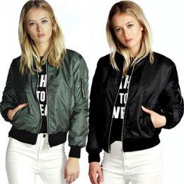 Wholesale 2016 Lady Casual Classic Padded Bomber Jacket Womens Retro Vintage Zip Up Biker Coat