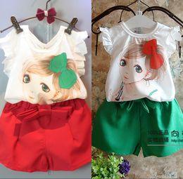 Wholesale 2016 Cute Girls Sets Pretty Make Up Lady Print Vest Tank Top T Shirt Chiffon Shorts Set Kids Clothes Shorts Tee Shirt Suit