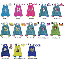 Wholesale 2016 New Styles CM Double Side Kids Elsa Mermaid Capes and Masks for Kids Halloween Birthday Party Gifts
