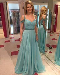 Wholesale Aqua Blue Prom Dresses Long Off Shoulder Draped Pleats Chiffon Women Formal Dresses Evening Wear Sexy Party Gowns Custom Made