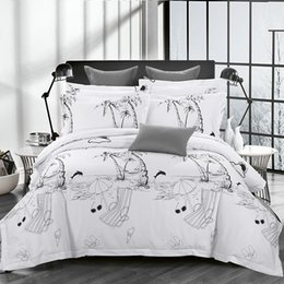 Hawaii Scenic Sketch Cotton Comforter Bedding Sets Bedspreads For Full Queen King Bed 4 5pc Include Duvet Cover Sheet Pillowsham