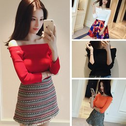 Wholesale 2016 New Arrival Winter Swearters Slash Neck Off Shoulder Elastic Sweater Women Short Red Lapel Pullover Sexy Jumpers FS0739