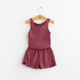 Wholesale 2016 Fashion Kids Girls Sets Korean Style Candy Color Vest Top Tees Clothing Children Shorts Outfits