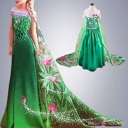 Wholesale Fever Green Elsa Costumes Girls Cosplay Party Dresses Princess Anna Christmas Kids Girls Costumes Clothing vestidos de festa MC0180