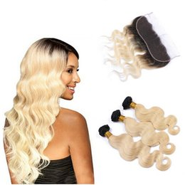 2017 ombre two tone color virgin hair Two Tone 1B 613 Dark Root Ombre Virgin Human Hair Body Wave 3 Bundles With 13*4 Blonde Ear to Ear Lace Frontal Closure ombre two tone color virgin hair promotion