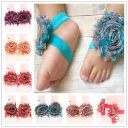 Wholesale Venta al por mayor Pairs Shabby flores sandalias recién nacido bebé pies flor zapatos Todders pies accesorios baratos bebé infantiles descalzo sandalias