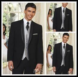 Wholesale Black Groom Tuxedos Groomsmen For Wedding Two Buttons Slim Best man Peak Lapel Groomsman Men s Wedding Suits Jacket Pants Tie Vest