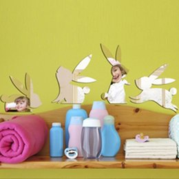 Children S Room Decoration Wall Stickers Nursery Classroom Arranged Mirror Acrylic Mirror Stickers Happy Bunny New 2017 European