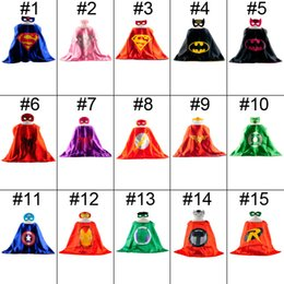 Wholesale 15 colors Superhero capes mask set Kids Superman Cape Superman Batman Spiderman Supergirl Batgirl Robin kids Christmas Halloween cape