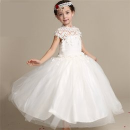 Wholesale 2016 New Girl Flower White organza Robe de princesse Noble Elegance mariée en dentelle Encolure Pour Mariage Birthday Party de Noël