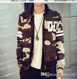 Wholesale Nouvelle Collection Men Camouflage Baseball Jacket hoodies minces automne Top qualité coréenne mince Camo Baseball Jacket Sueurs Casual