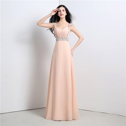 Wholesale Simple Chiffon Long Prom Dresses With Rhinestones Sweetheart Neckline Lace up Back A Line Formal Gowns With Pleats Cheap FW