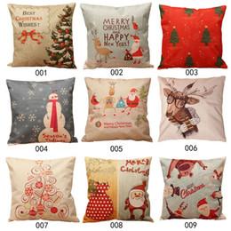 pillow cover linen blend pillows of christmas throw home decorative cotton linen cushion cover 44 x 44cm cojines capa almofada - Christmas Decorative Pillows
