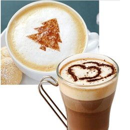 16pcs Lot Cappuccino Coffee Latte Stencil Mold Coffee Stencil Decor Barista Duster Art Template Strew Pad Duster Spray Tools