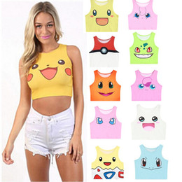 Wholesale Poke Mon Tank Tops Girls Cosplay Costume Pocket Monster Sailor Moon Crystal Cute Crop Tops Vest Tank Tops Shirt