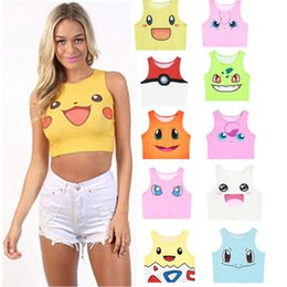 Wholesale Poke Tank Tops Girls Cosplay Costume Pocket Monster Sailor Moon Crystal Cute Crop Tops Vest Tank Tops Shirt